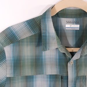 Columbia Omni-Wick Sport Shirt Green Blue Plaid